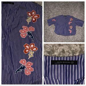 Zara Women Blue/White Stripe Floral Top